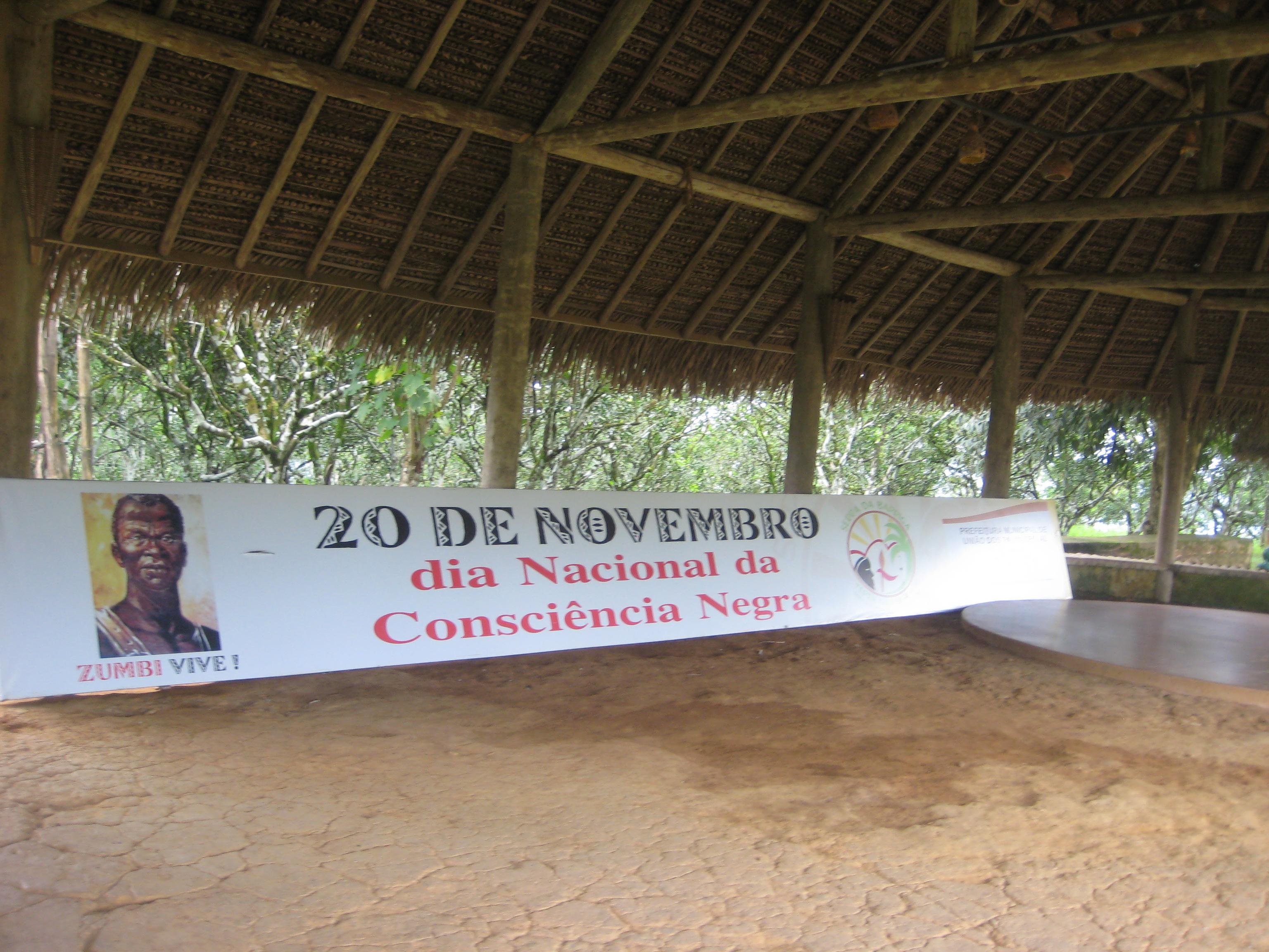 """""""20 de novembro"""" banner at Parque Memorial Quilombo dos Palmares. Photo by Maria Fernanda Escallón."""