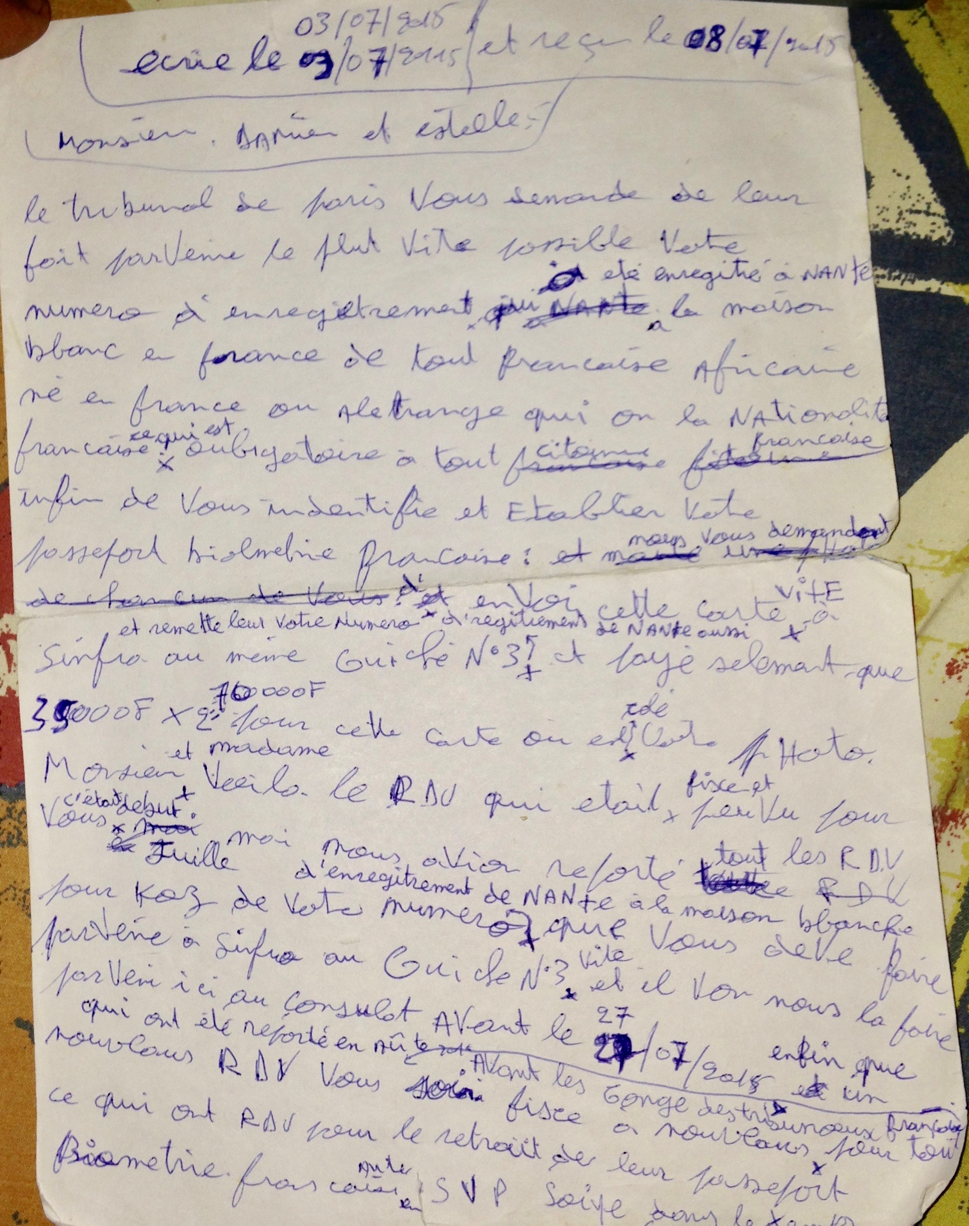 A draft of a counterfeit official letter from the French Consulate. Photo by Sasha Newell.