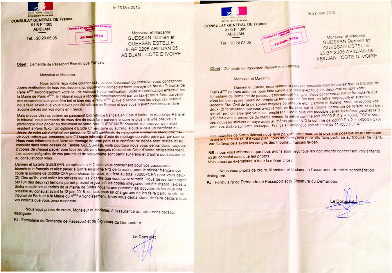Final forged documents from the French consulate. Notice that there are many errors of French grammar and spelling, but that it was the mismatching signatures that raised Fatou's suspicion of inauthenticity. The names used are aliases. Photo by Sasha Newell.