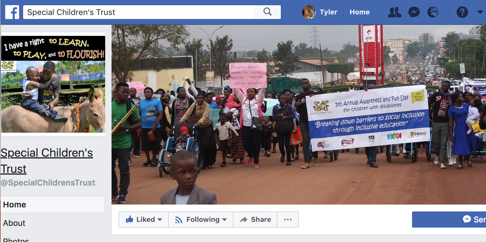 SCT's Facebook page prominently features a scene of the Awareness Day March. Screenshot by Tyler Zoanni.