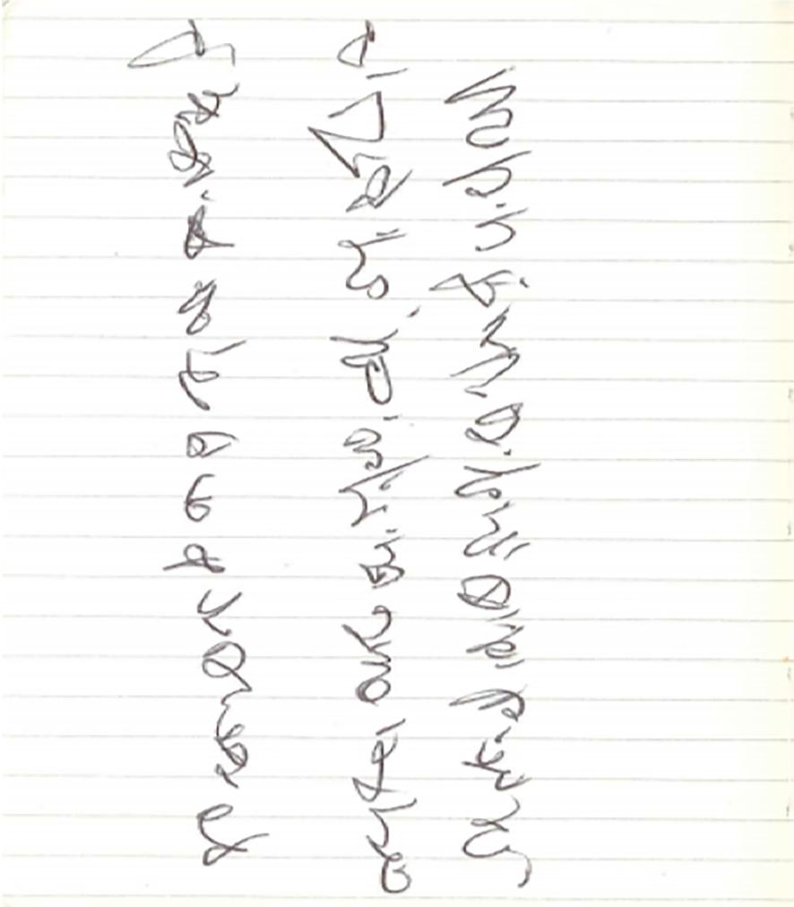 Philip's automatic writing. Image created by Sareeta Amrute.