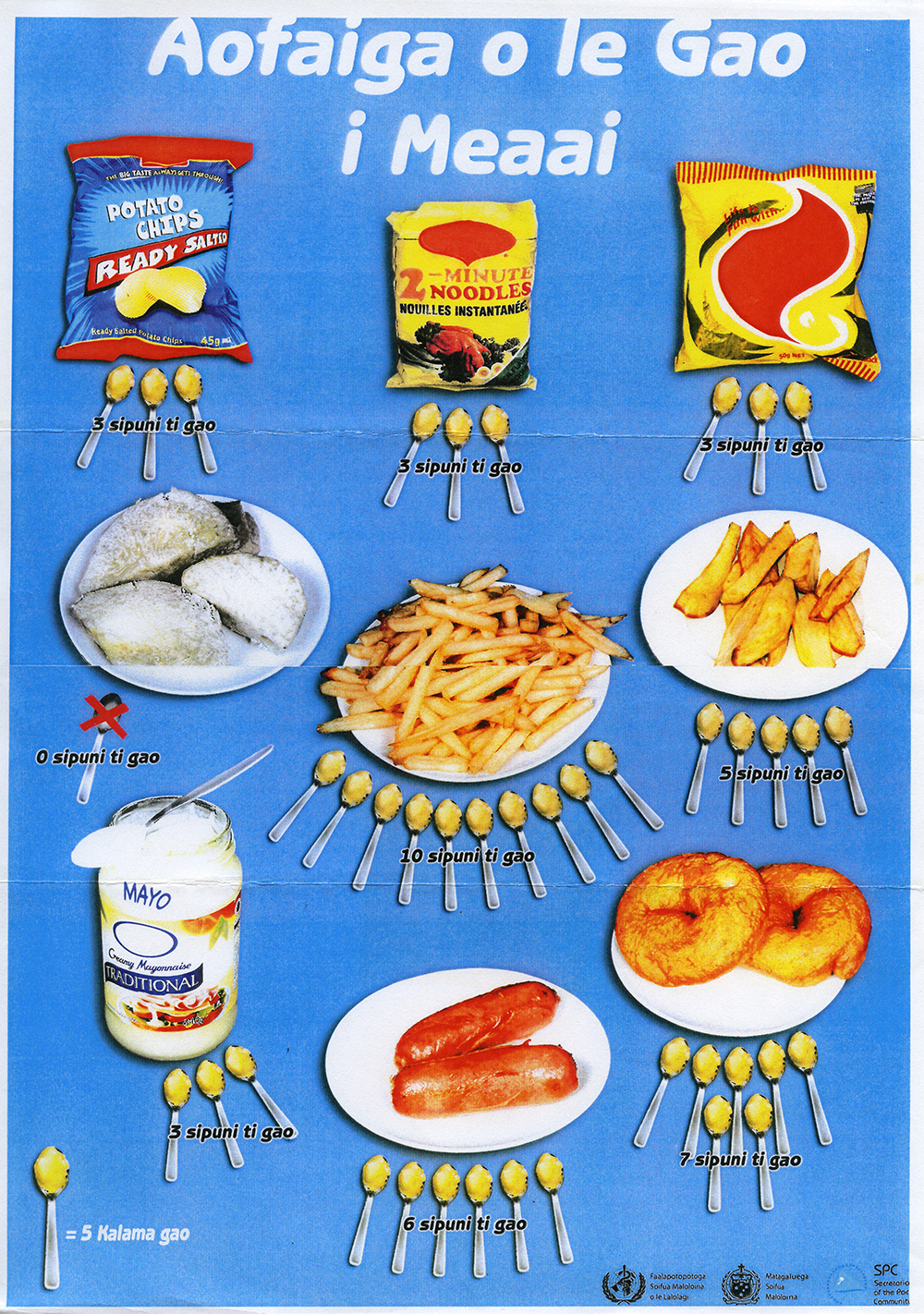 """Health promotion poster, which translates as """"Amount of fat in food."""" Photo by Jessica Hardin."""