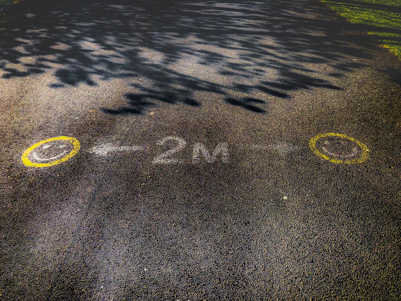 Dublin social distancing stencil, 2020. Photo by Thomas Strong.