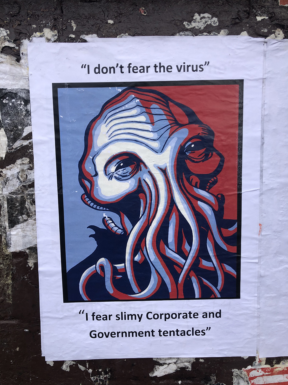 Paste-up sign photographed in Sydney on June 2, 2020, in the wake of a government proposal that all residents install a tracking app on their phones for contact tracing and notification. Photo by Saffaa Hassanein. Poster artist anonymous.