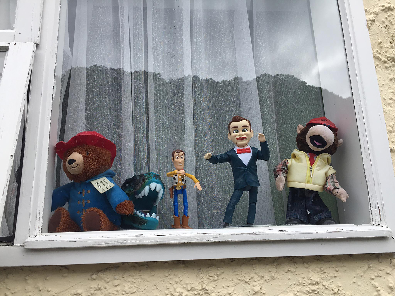 Around the nation, teddy bears, stuffed animals, and figurines appeared in windows to indicate support and solidarity for the national lockdown. Photo by Revena Correll Trnka.