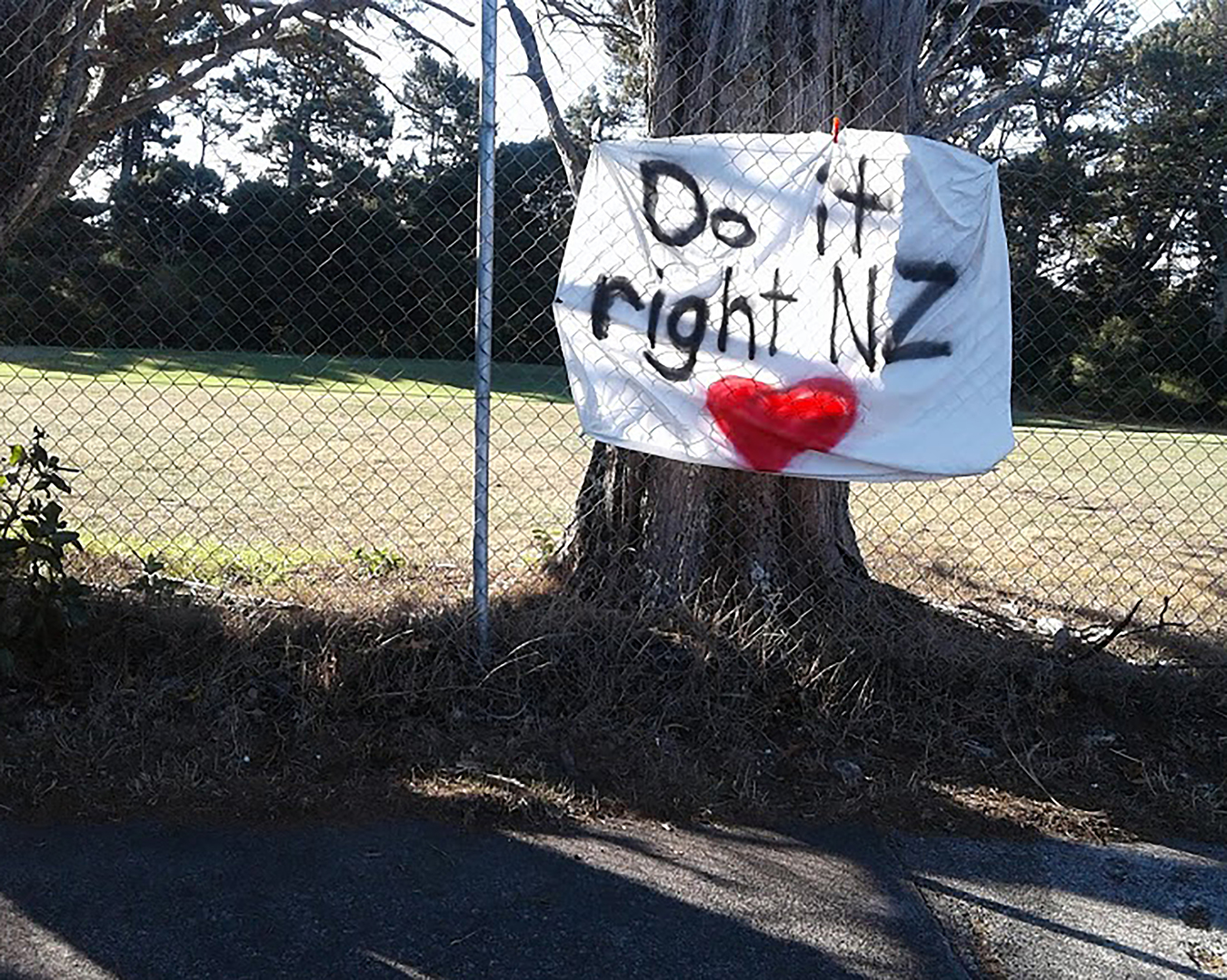 Banner in Green Bay, Auckland, March 2020. Photo by Susanna Trnka.